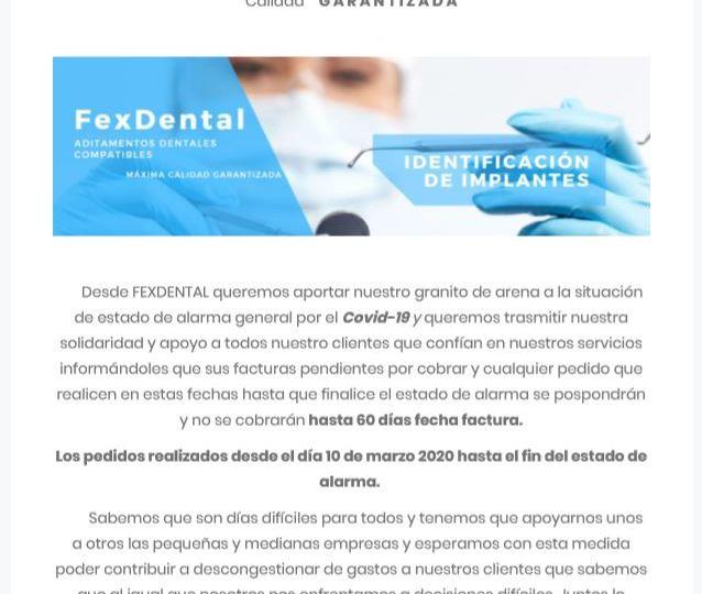 Comunicado FexDental Clientes Covid-19
